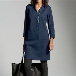 J Jill Pocket Button Front 3/4 Sleeve Smock Dress